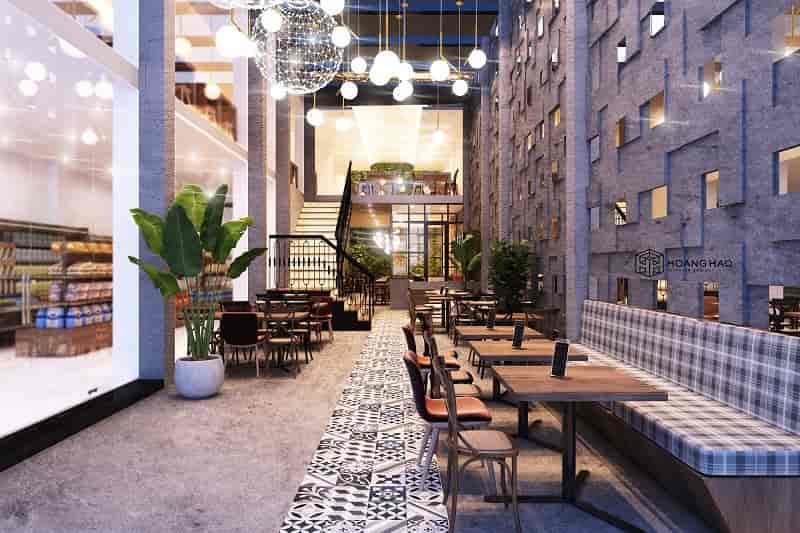 thiết kế nội thất quán cafe trong khu thương mại