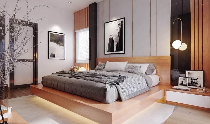 không kê giường ngủ hướng vào một bên tường