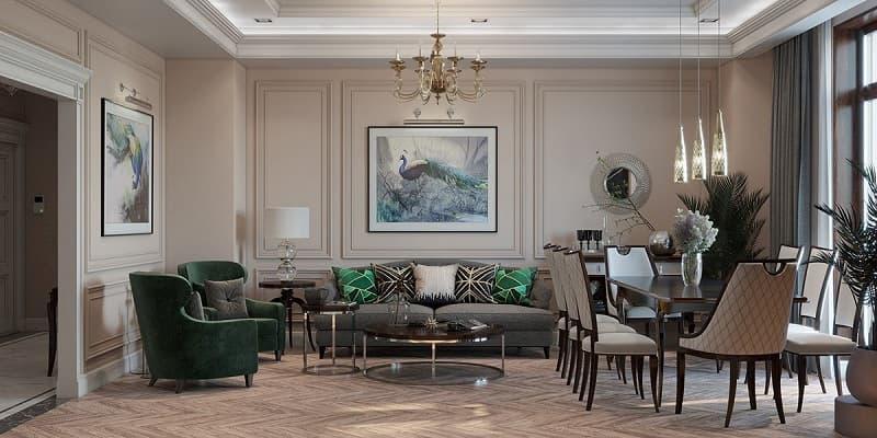 Thiết kế nội thất cho phòng khách đậm chất cổ điển