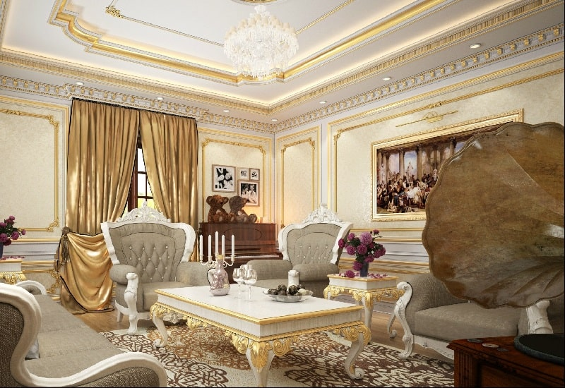 nội thất spa tân cổ điển có tone màu vàng đồng chủ đạo